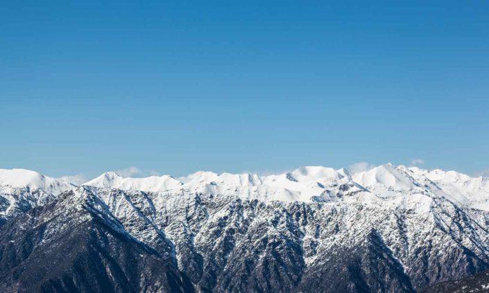 Paisaje montañoso de Andorra en Invierno