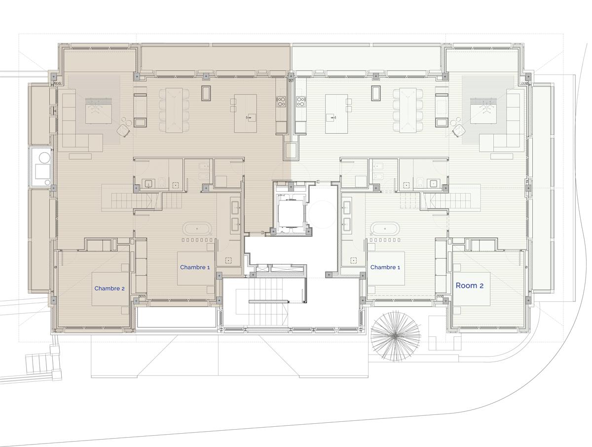 Hermitage Mountain Residences Etage 4 Résidences au rez-de-chaussée 250 m2